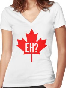 Canadian, eh? Women's Fitted V-Neck T-Shirt