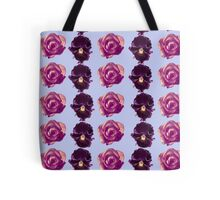 Purple and yellow pansies and pink roses blue background Tote Bag