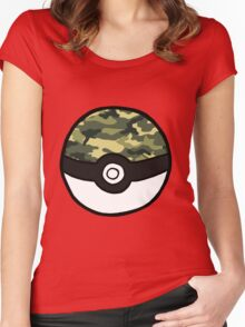 Camo Pokeball Women's Fitted Scoop T-Shirt