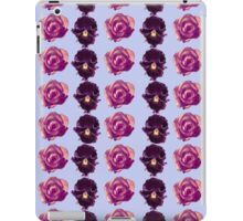 Purple and yellow pansies and pink roses blue background iPad Case/Skin