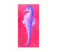 Seahorse painting on red background Art Print