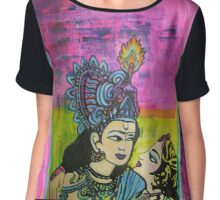 Us   Love themed pop art with vintage Indian imagery Chiffon Top