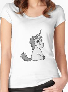 unicorn unicorn foal sweet cute sitting comic cartoon pony horse pferdchen kawaii child girl baby Women's Fitted Scoop T-Shirt