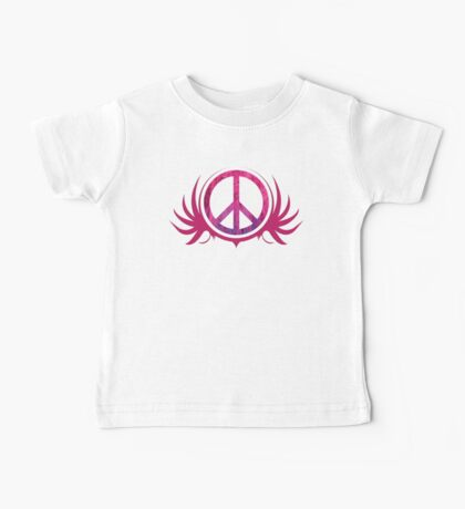 Peace Sign with Grunge Texture and Wings Baby Tee