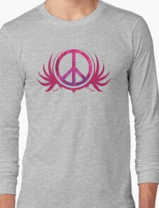Peace Sign with Grunge Texture and Wings Long Sleeve T-Shirt