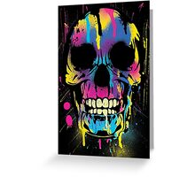 Cool Skull with Colorful Paint Drips and Splatters  Greeting Card