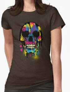 Cool Skull with Colorful Paint Drips and Splatters  Womens Fitted T-Shirt