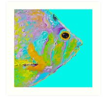 Tropical Fish painting on turquoise background Art Print