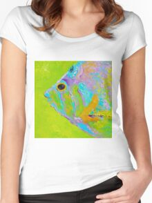Colorful Tropical Fish painting Women's Fitted Scoop T-Shirt