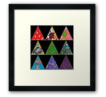 Vintage Fabric Patchwork in Bright Colours Framed Print
