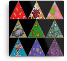 Vintage Fabric Patchwork in Bright Colours Metal Print
