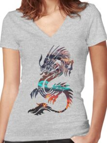 Dragon Picture Fill Women's Fitted V-Neck T-Shirt