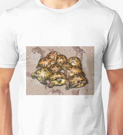 Greek Tortoise Group - Desert Camo Background Unisex T-Shirt