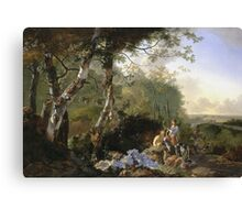 Adam Pynacker - Landscape With Sportsmen And Games 1665. Forest view: forest , trees,  Sportsmen, dog, birds, animals, Games, flowers, plants, field, present  Canvas Print