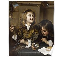 Adriaen Hanneman - Two Boys Blowing Bubbles. Boys portrait: Boys, children, curly hair, smile,  joy, happiness, delight, game, play, blowing Poster
