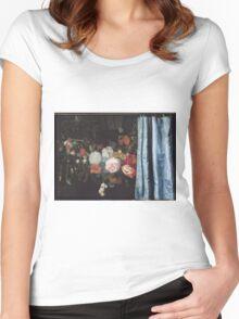 Adriaen Van Der Spelt  - Still Life With A Flower Garland And A Curtain 1658. Still life with flowers: still life with flowers, flowers, blossom, nature, botanical, floral , flora, wonderful flowers Women's Fitted Scoop T-Shirt