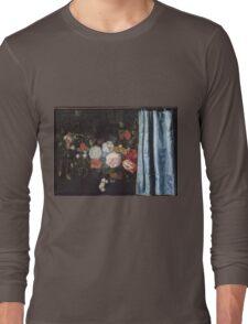 Adriaen Van Der Spelt  - Still Life With A Flower Garland And A Curtain 1658. Still life with flowers: still life with flowers, flowers, blossom, nature, botanical, floral , flora, wonderful flowers Long Sleeve T-Shirt
