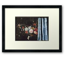 Adriaen Van Der Spelt  - Still Life With A Flower Garland And A Curtain 1658. Still life with flowers: still life with flowers, flowers, blossom, nature, botanical, floral , flora, wonderful flowers Framed Print