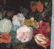 Adriaen Van Der Spelt  - Still Life With A Flower Garland And A Curtain 1658. Still life with flowers: still life with flowers, flowers, blossom, nature, botanical, floral , flora, wonderful flowers Sticker