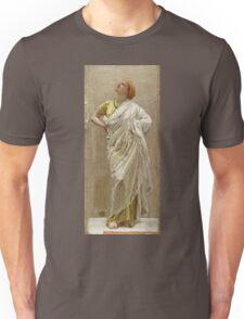 Albert Joseph Moore - Study For Birds. Woman portrait: sensual woman, beautiful dress, female style, charm , delicate , diaphanous,, tissue, garments, figure , draped, erotic pose Unisex T-Shirt