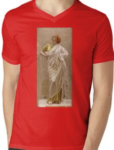 Albert Joseph Moore - Study For Birds. Woman portrait: sensual woman, beautiful dress, female style, charm , delicate , diaphanous,, tissue, garments, figure , draped, erotic pose Mens V-Neck T-Shirt