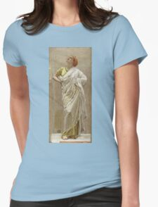Albert Joseph Moore - Study For Birds. Woman portrait: sensual woman, beautiful dress, female style, charm , delicate , diaphanous,, tissue, garments, figure , draped, erotic pose Womens Fitted T-Shirt