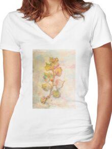 Autumn Leaves large decorative art prints Women's Fitted V-Neck T-Shirt