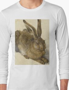 Albrecht Durer - Hare 1502. Young hare painting: cute hare,  hares,  rabbits,  animals,  bunnies,  realistic ,  wild,  animal,  rabbit,  wild animals,  fur  Long Sleeve T-Shirt