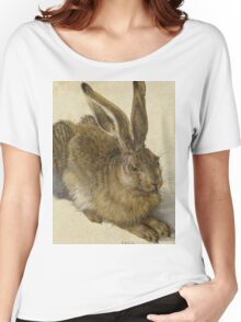 Albrecht Durer - Hare 1502. Young hare painting: cute hare,  hares,  rabbits,  animals,  bunnies,  realistic ,  wild,  animal,  rabbit,  wild animals,  fur  Women's Relaxed Fit T-Shirt