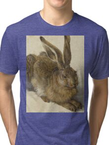 Albrecht Durer - Hare 1502. Young hare painting: cute hare,  hares,  rabbits,  animals,  bunnies,  realistic ,  wild,  animal,  rabbit,  wild animals,  fur  Tri-blend T-Shirt