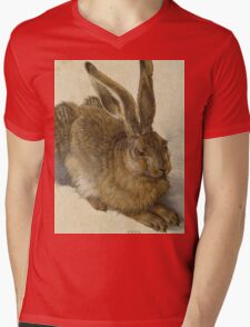 Albrecht Durer - Hare 1502. Young hare painting: cute hare,  hares,  rabbits,  animals,  bunnies,  realistic ,  wild,  animal,  rabbit,  wild animals,  fur  Mens V-Neck T-Shirt