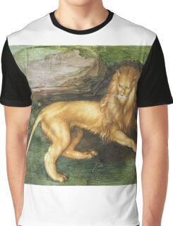Albrecht Durer - Lion. Cat portrait: king,  leo,  lion,  lioness,  mane,  powerful,  big,  cat,  african,  animal,  mane Graphic T-Shirt