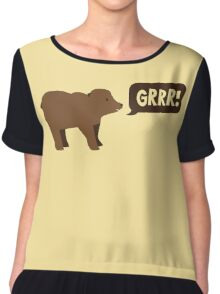 GRRR grizzly brown bear growling Chiffon Top
