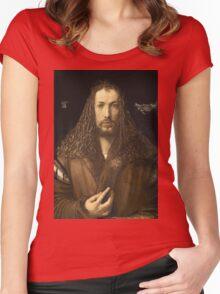 Vintage famous art - Albrecht Durer - Self Portrait Women's Fitted Scoop T-Shirt