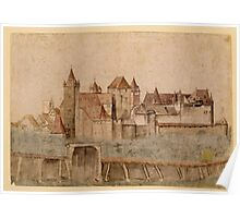 Vintage famous art - Albrecht Durer - View Of Nuremberg Castle From The North 1495 Poster