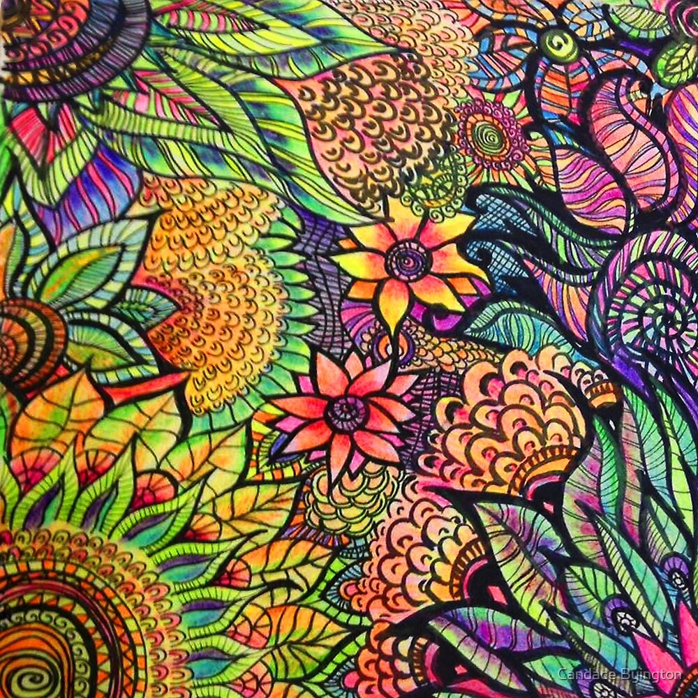 """Colorful Zentangle Flowers"" by Candace Byington"