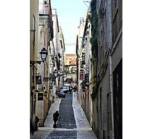 A cobbled street in Lisbon, Portugal Photographic Print