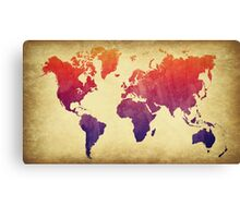 World Map Watercolor Grunge Canvas Print