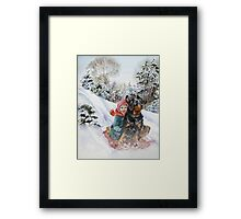 Vintage famous art - Alexander Day - Good Dog Carl Goes Sledding Framed Print