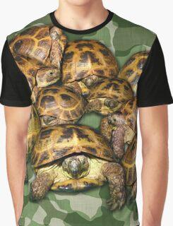Greek Tortoise Group on Green Camo Graphic T-Shirt