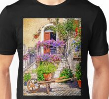 Colorful entrance in a Mediterranean alley Unisex T-Shirt