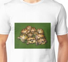 Greek Tortoise Group on Darn Green Background Unisex T-Shirt