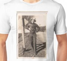 Man in leather jacket and hat Unisex T-Shirt