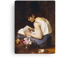 Vintage famous art - Alexej Alexejewitsch Charlamoff - A Girl Reading Canvas Print
