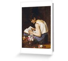 Vintage famous art - Alexej Alexejewitsch Charlamoff - A Girl Reading Greeting Card