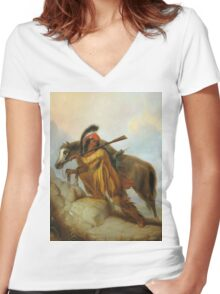 Vintage famous art - Alfred Jacob Miller  - The Scalplock Women's Fitted V-Neck T-Shirt