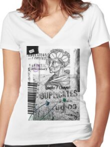 Philosophy is the talk on a cereal box Women's Fitted V-Neck T-Shirt