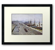 Vintage famous art - Alfred Smith  - Bordeaux, View From The Bridge, Winter Day Framed Print