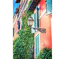 Traditional italian alley with old streetlamp Photographic Print