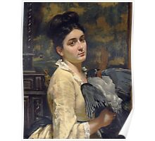 Vintage famous art - Alfred Stevens  - Lady With A Bird 1860 Poster